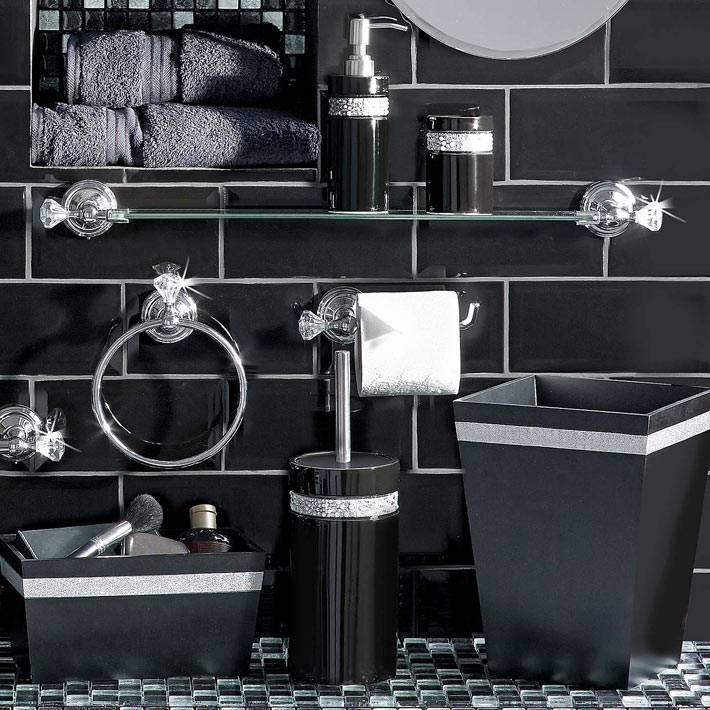 черный аксессуары для черной ванной комнаты фото