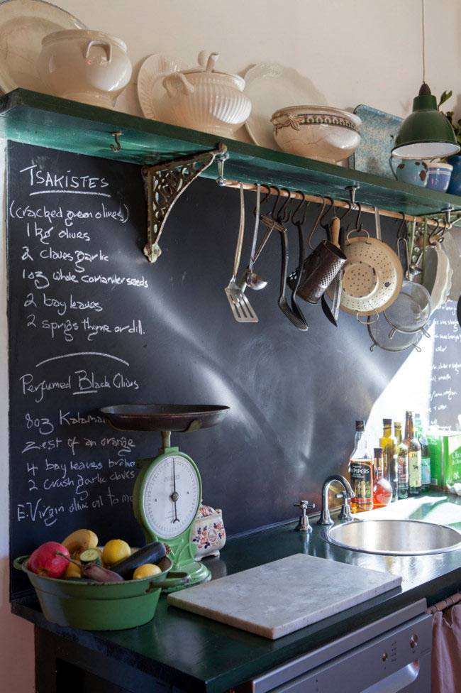 стена на кухне выкрашена черной краской для писания мелом