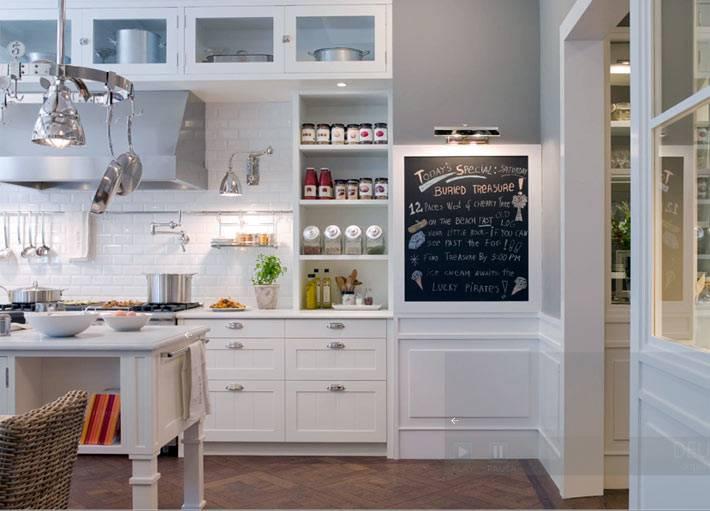 меловая доска для записей в интерьере кухни