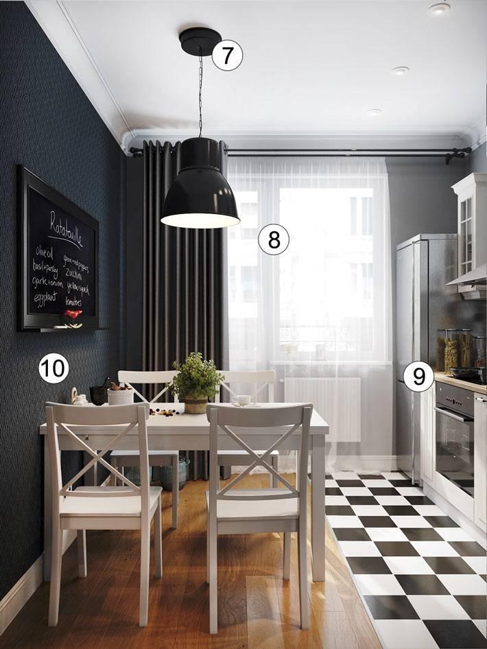 красивый интерьер кухни с черной стеной и меловой доской