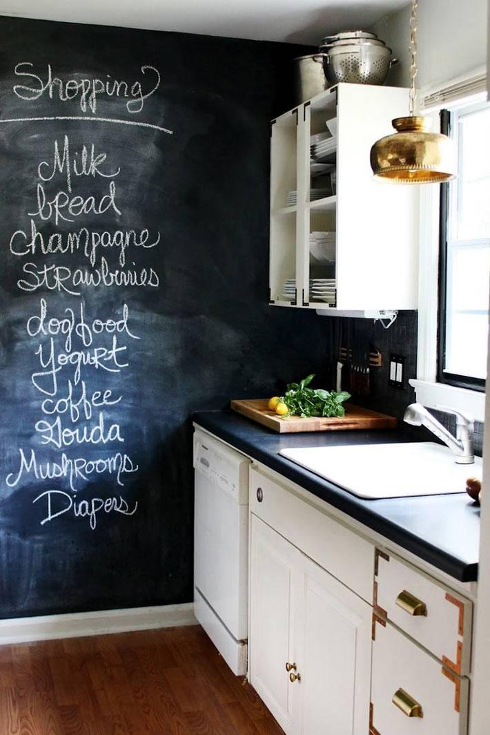 Грифельная или меловая доска для рисования в интерьере кухни