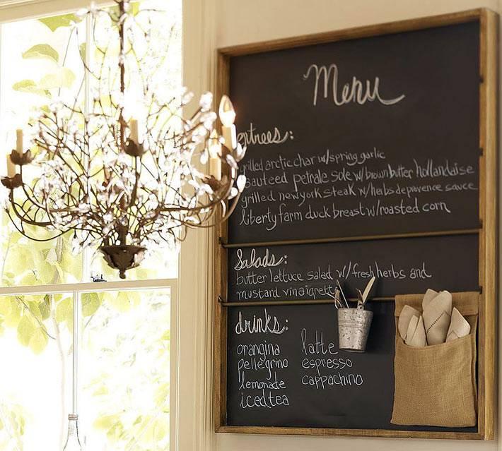красивые идеи размещения грифельных досок на кухне