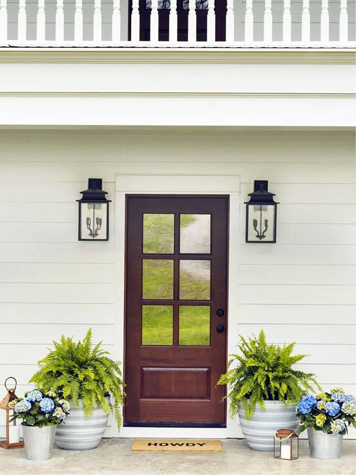 входная дверь с папоротниками в кадках в доме в Теннесси