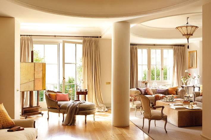бежевый цвет в дизайне квартиры в Барселоне фото