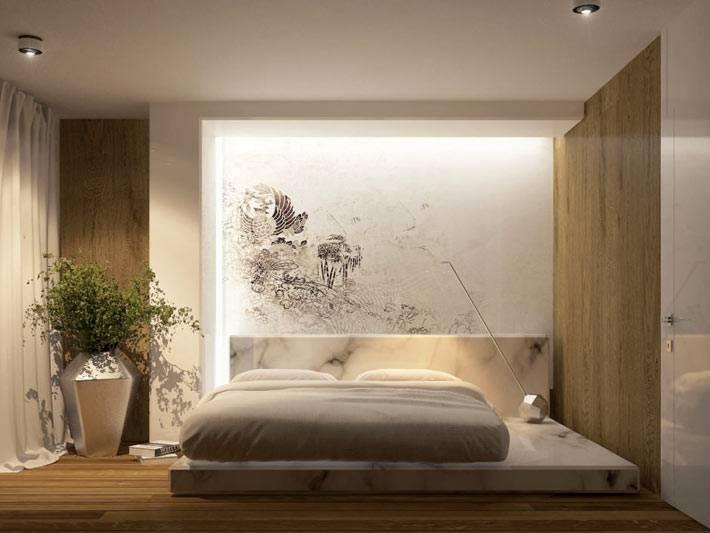 напольная ваза в углу спальни в стиле минимализма