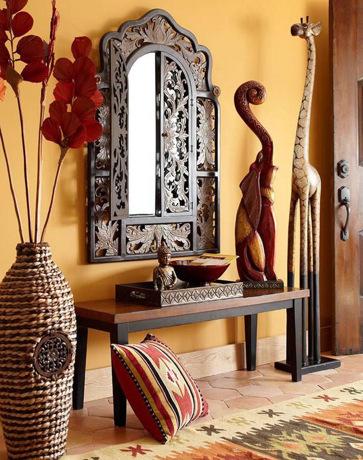 плетеная ваза в африканском интерьере фото