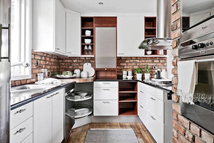 кирпичные вставки в дизайне современной кухни фото