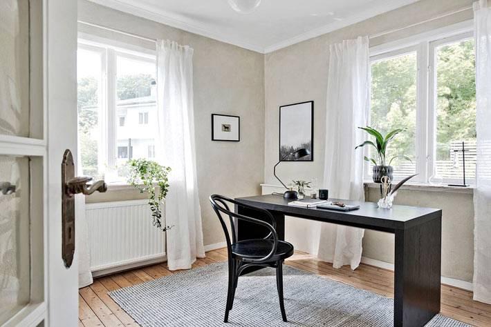 небольшой интерьер рабочего кабинета в стиле минимализма