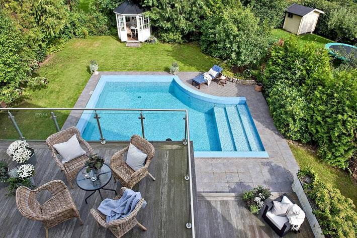 загородный дом в Швеции в бассейном во дворе фото