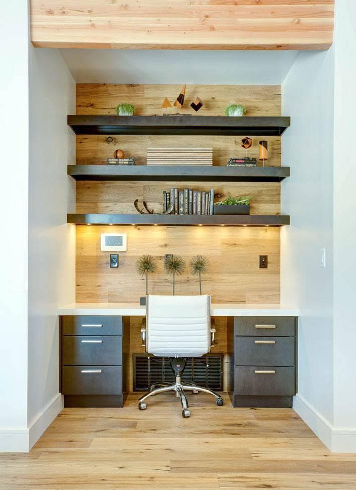 дерево в дизайне домашнего офиса фото