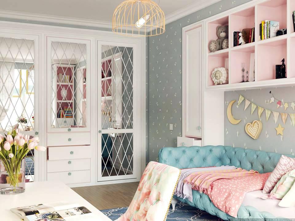 красивая белая мебель для интерьера детской комнаты фото