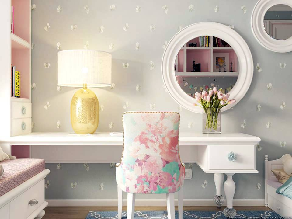 круглые зеркала на серой стене в красивой детской комнате фото