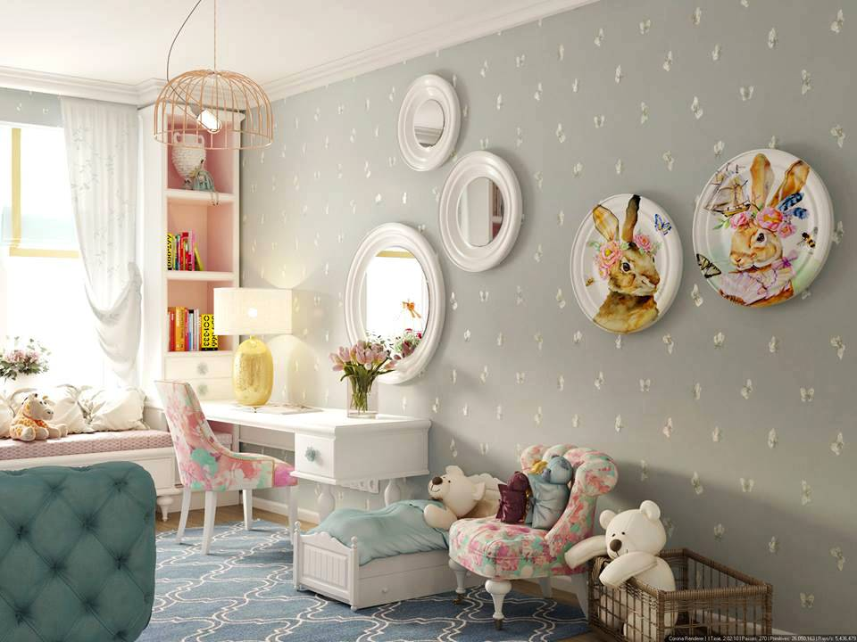 милый интерьер детской комнаты с зеркалами и красивой мебелью фото