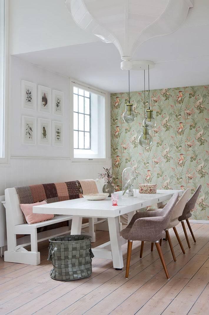Дизайн интерьера столовой комнаты в скандинавском стиле фото