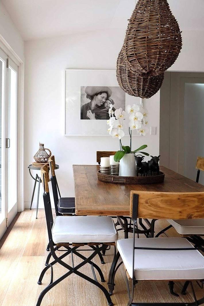 скандинавский стиль в дизайне столовой с плетеными абажурами на лампах