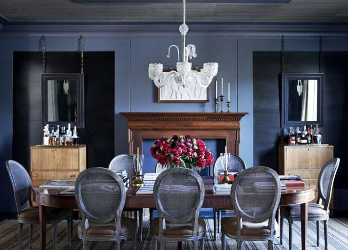 красивый синий дизайн интерьера столовой комнаты фото