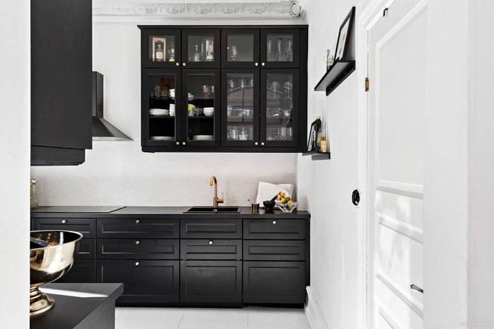 красивая черная кухня в белом интерьере