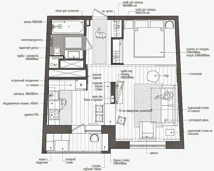 план однокомнатной квартиры-студии с нишей