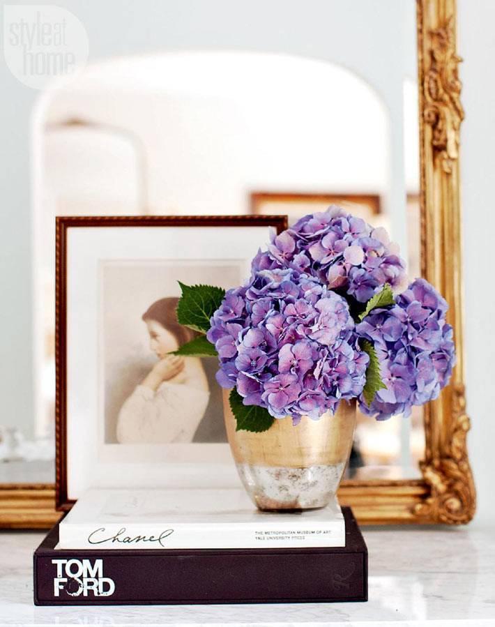 гортензия в интерьере - живые цветы как декор интерьера фото