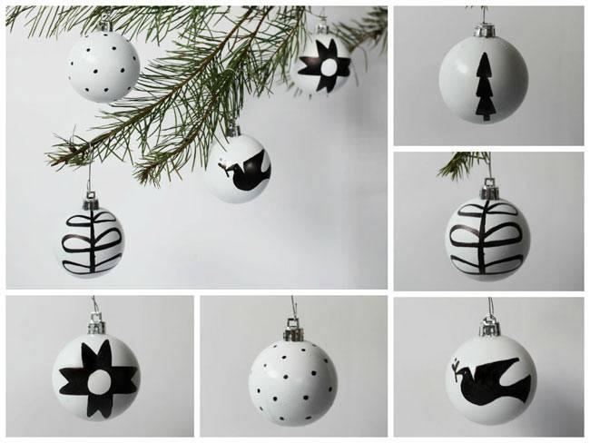 красивый белый и черный цвет для новогодних игрушек