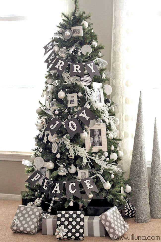 контрастный черно-белый новогодний декор фото