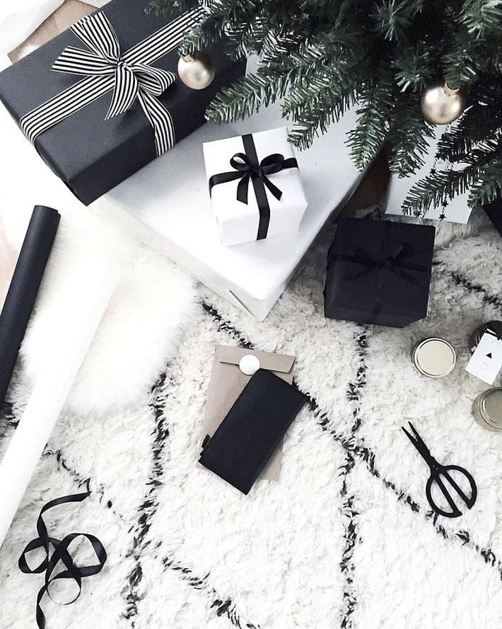 черно-белые цвета для новогодней мишуры и подарков