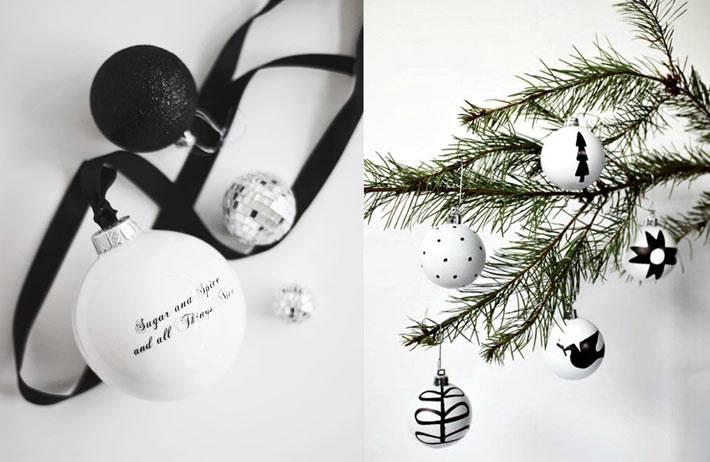 черній и белій цвет в новогодних украшениях