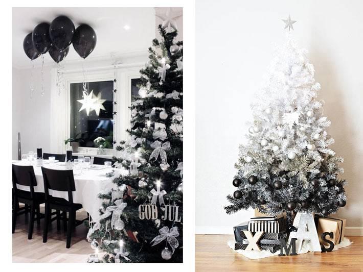 черная и белая елка в новогоднем оформлении дома