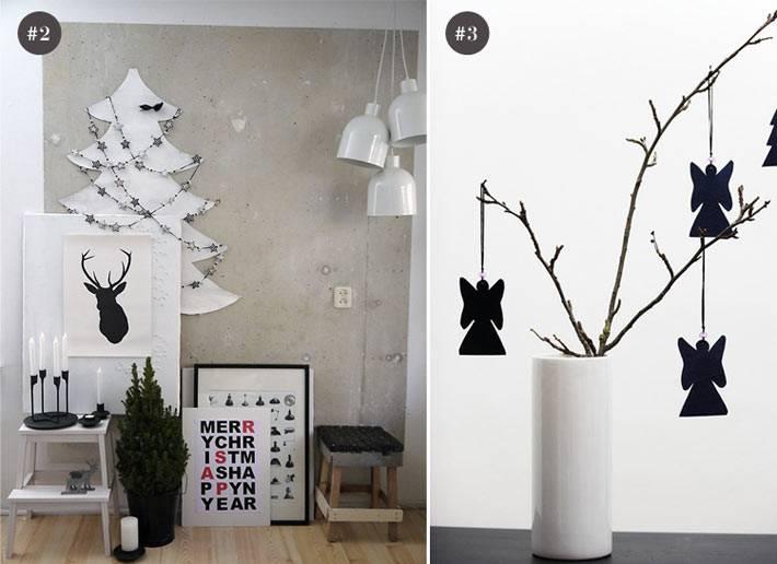 красивый новогодний декор в черно-белой гамме