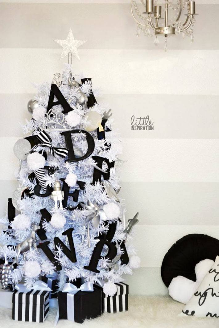 черные новогодние украшения на белой елке фото