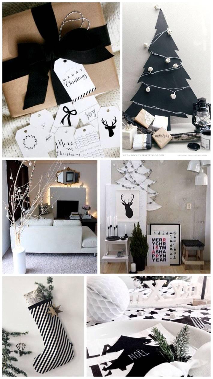 разные идеи черно-белого новогоднего декора для дома