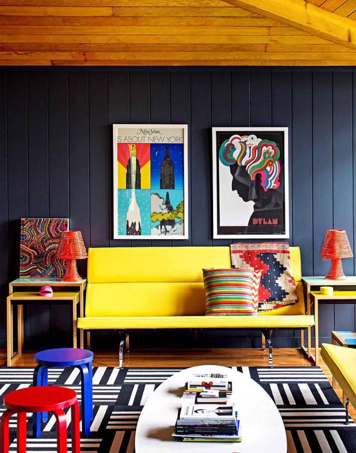 Уникальный цветной дизайн интерьер дома в Америке фото