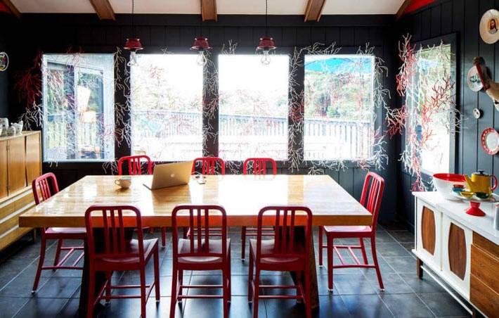 дизайн интерьера столовой комнаты с красными стульями