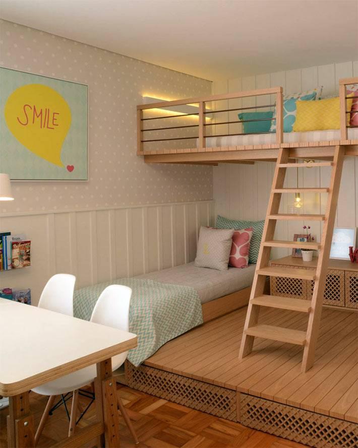 интерьер детской комнаты с ярусами и подиумом