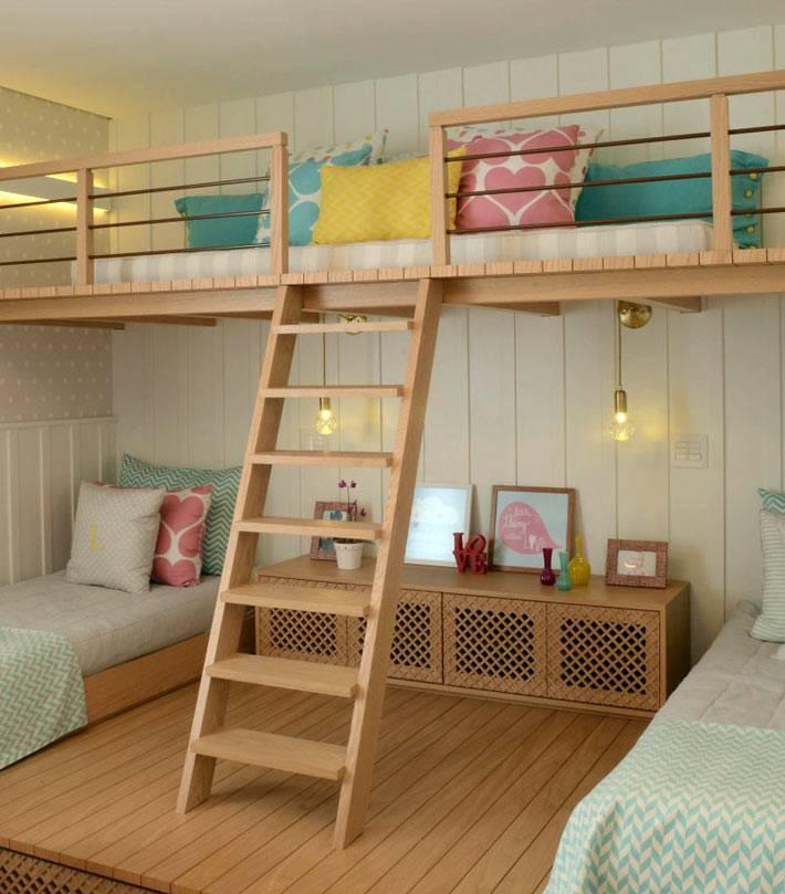 компактная детская комната со вторым ярусом фото