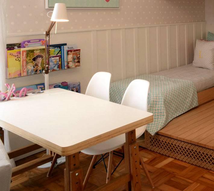 белый письменный стол в интерьере детской комнаты