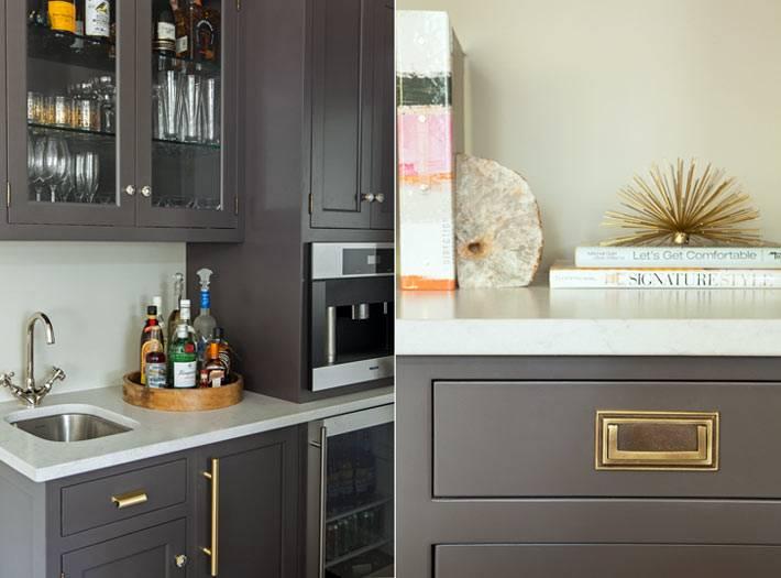 серая часть мебели в дизайне интерьера кухни