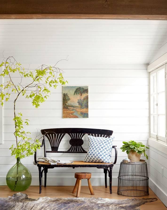 дизайн и декор из натуральный материалов в белом доме