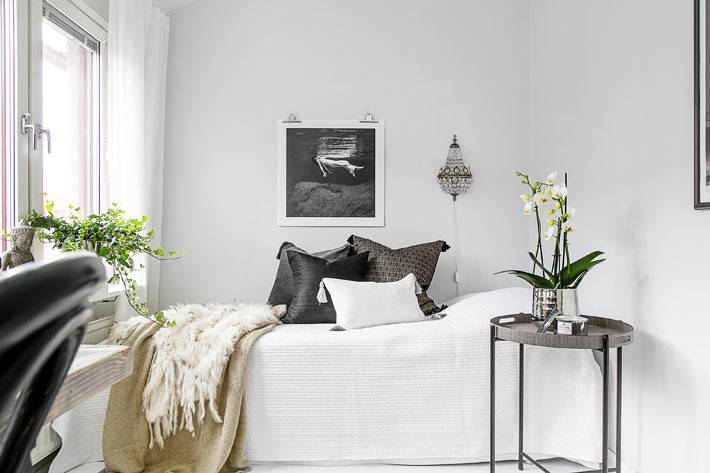 маленькая гостевая спальня с белым интерьером