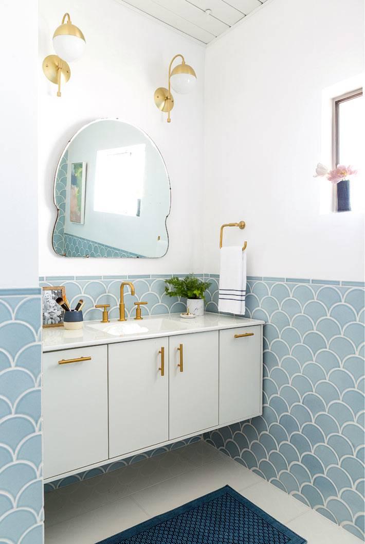 облицовка ванной комнаты плиткой рыбья чешуя