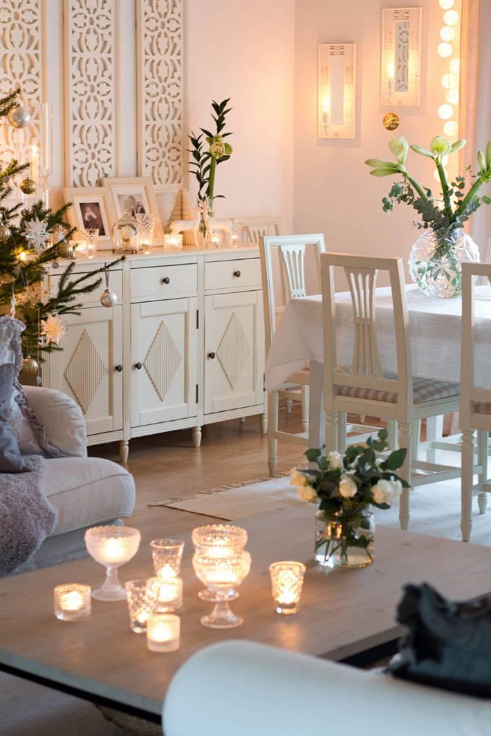 декор интерьера свечами фото