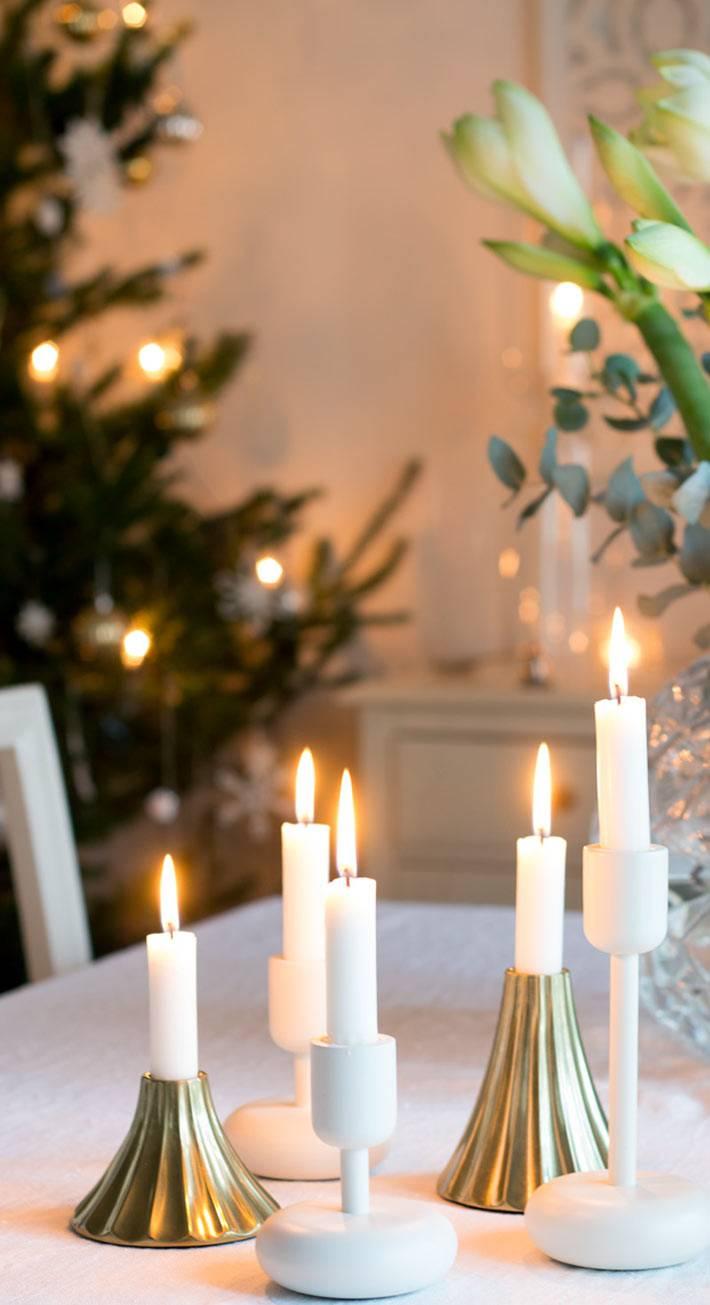 сервировка новогоднего стола со свечами