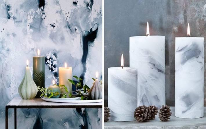 модный мраморный узор на свечах в интерьере