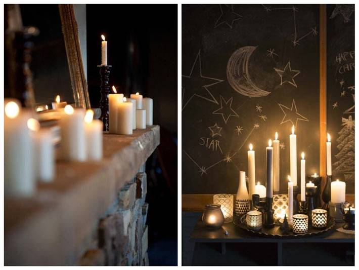 свечи для уютного интерьера с грифельными стенами фото