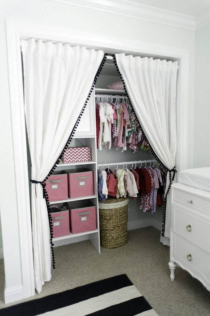 ниша со шторкой для шкафа с детской одеждой фото