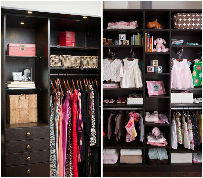 коричневый шкаф с полками и ящиками для хранения одежды