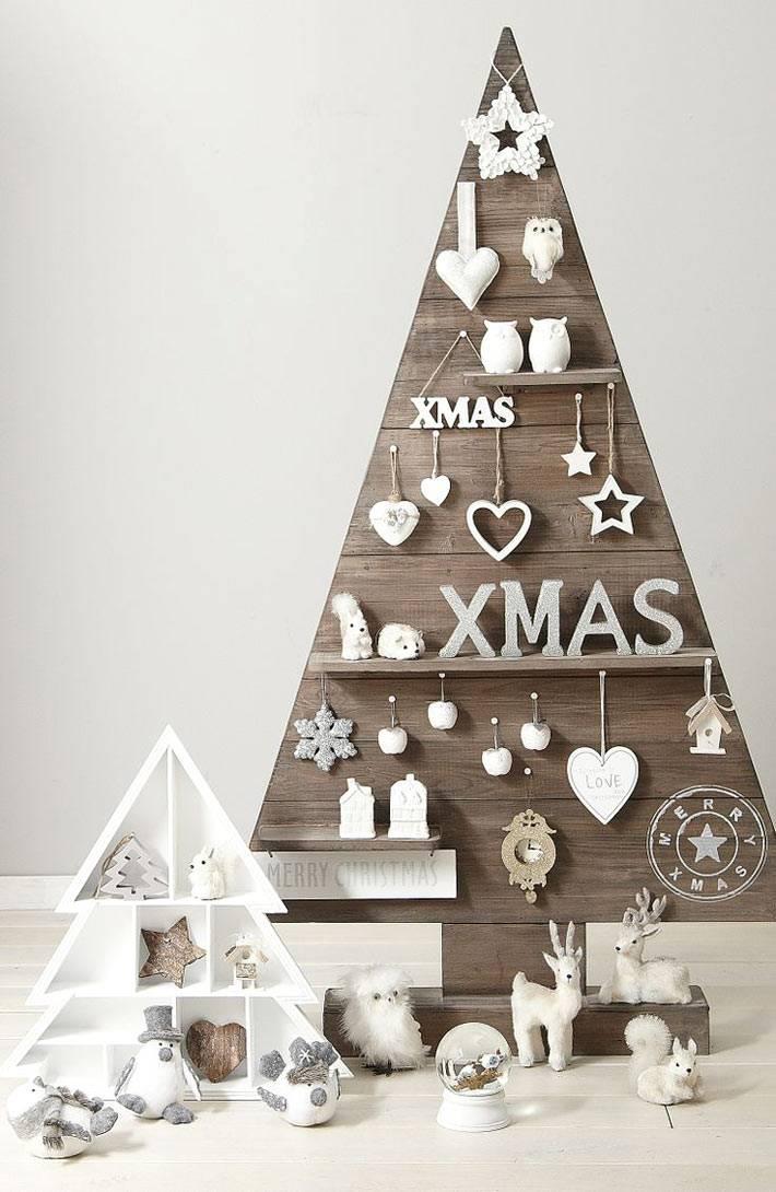 современная деревянная новогодняя елка фото