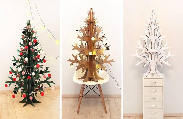 новогодняя елка, вырезанная из картона