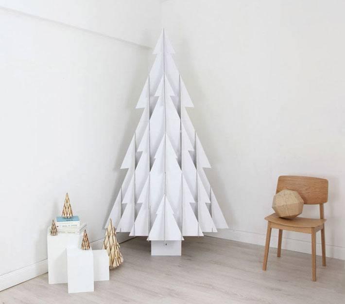 современная бумажная новогодняя елка с эффектом 3Д