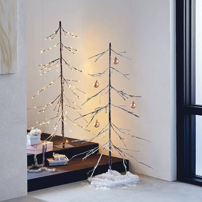новогодние елки из веток для дома фото